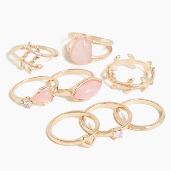 Torrid Gold-Tone & Blush Faux Stone Ring Set Of 8